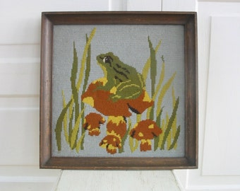 Vintage Framed Needlepoint, Frog Embroidery Needlepoint, Mushroom Needlepoint, Vintage Frog Needlepoint, Mushroom Embroidery
