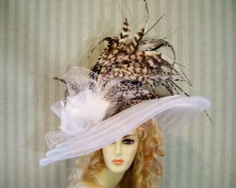 Kentucky Derby Hat, Super Wide Brim Hat, Tea Hat, Wedding Hat, Victorian Hat, WHite Hat, Easter Hat, Downton Abbey Hat, Halloween Hat