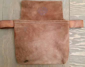 Vintage Suede Nicholas Nail Bag with Hammer Loops Made of Thick Suede Leather 446C-SP