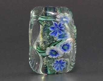 Lampwork focal glass flower Bead by Ikuyo SRA