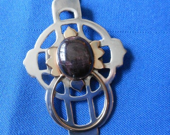 Sterling, Gold Fill Cross w a large Gorgeous Corundum, Artist's Collection, Early Work, Signed, Dated, Hand Pierced, Polished Sterling