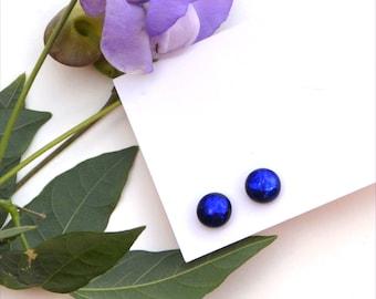 265 Fused dichroic glass earrings, shiny dark blue on black, round