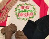 Merry Southern Christmas Raglan Baseball Tee