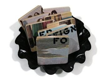 Foreigner recycled Debut Album album cover coasters with wacky vinyl bowl
