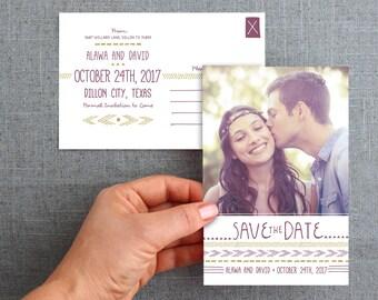 "Digital File, Save the date card, postcard, hand drawn detail, tribal pattern, bohemian, 4x6 inch, ""Alawa Style"""