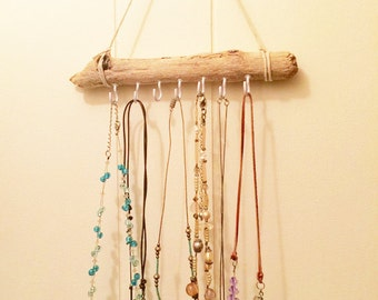 driftwood jewelry display, 9 inches wide, bohemian jewelry holder, reclaimed driftwood, necklace organizer, boho