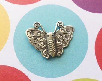 Karen Hill Tribe Fine Silver Butterfly Pendant Focal Bead 30mm x 23mm jewelry finding