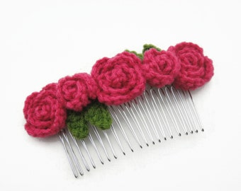 Hair Comb Slides Accessories for Girls Handmade Crochet Roses Rose Pink