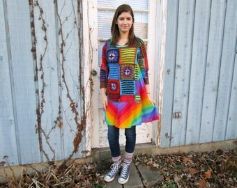 Rainbow Granny Square Trapeze Tunic Top// Multi Colored// Upcycled// Wearable Art// Small Medium// emmevielle