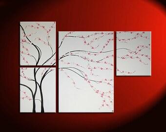 Unique Original Painting black and white Wall Art Cherry Blossom Asymmetrical Home Decor Floral Spa 60x41 Custom