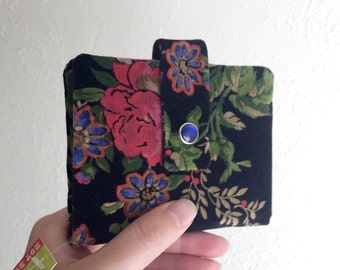 Pretty Upcycled Black Velvet Floral Wallet - Midsize Cash and Card Wallet with Change pouch