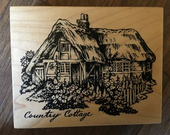 PSX Rare Wood Mounted Rubber Stamp Country Cottage
