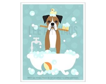 114D Dog Print - Brown Boxer Dog in Bubble Bath Wall Art - Bathroom Art - Boxer Print - Bath Print - Dog Drawing - Dog Art - Pet Portrait