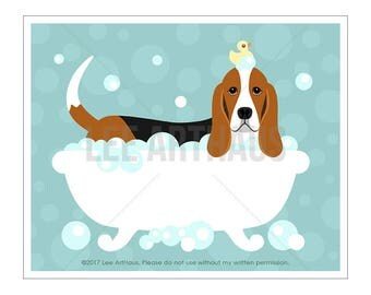 174D Dog Art Print - Basset Hound Dog in Bubble Bath Bathroom Wall Art - Bathroom Decor - Basset Hound Print - Bath Prints - Hound Dog Print