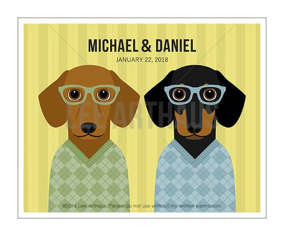 230P - Custom Name Print - Two Dachshunds in Argyle Sweater Wall Art - Dog Wearing Sweaters Print - Dachshund Print - Gay Couple Gift