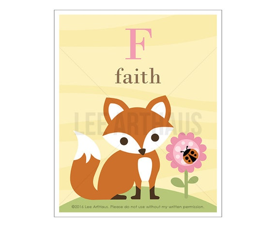 142P Fox Print - Personalized Letter F Fox Wall Art - Girl Nursery Wall Decor - Fox Drawing - Custom Name Art - Alphabet Print - Fox Art