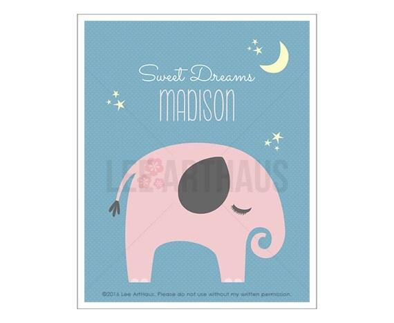 150P Elephant Print - Personalized Elephant Sweet Dreams Wall Art - Pink Elephant Wall Art - Pink and Gray Nursery - Inspirational Quotes