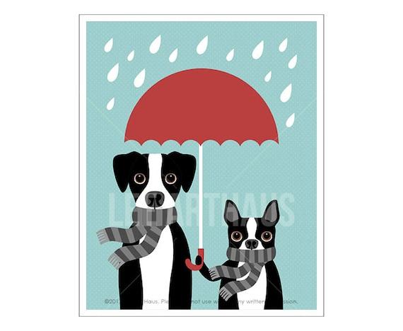 255D Dog Print - Great Dane and Boston Terrier with Red Umbrella Wall Art - Great Dane Print - Boston Terrier Print - Dog Nursery Art