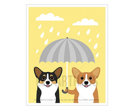 263D Dog Prints - Two Corgi Dogs with Gray Umbrella Wall Art - Corgi Wall Art - Pembroke Welsh Corgi Art - Art for Dog Lovers - Dog Drawing