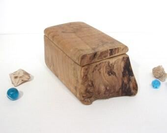 Maple Wood Box, wood art, office desk organizer, wood jewelry box, eco gift box, wood anniversary, small pet urn, ring bearer box, Christmas