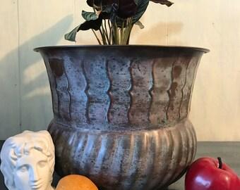 large brass planter - solid brass pot - metal plant holder - outdoor decor