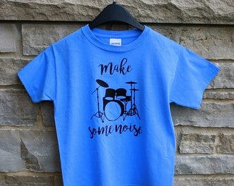 Make Some Noise Youth T Shirt - Drummer - Band - Blue Shirt