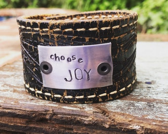 Hand Stamped Hand Made Leather Cuff Choose Joy Tag Perfect Gift