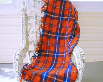 "Wool Throw Blanket Stadium Blanket Orange Navy Blue College Colors 56""X41"" Vintage Faribo"