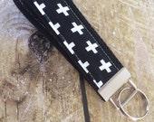 Swiss Cross Keychain - Black & White Keychain - Wristlet Key Chain - Key Fob - Wristlet Key Fob - Accessories - Key Holder - Key Ring