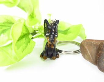 Doberman Pinscher Keychain key chain, doberman keychain, black dog key ring, doberman gifts, dog lover gift polymer clay miniature animal
