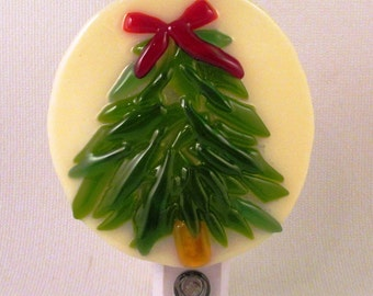 Fused Glass Evergreen Tree with Red Bow LED Nightlight