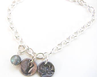 Sterling Silver Charm Bracelet - Yoga - Fine Silver Charms with Lotus Flower and Lotus Charm - Labradorite Gemstone Bead - Ready to Ship