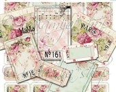 SALE SHABBY TICKETS Collage Digital Images -printable download file Digital Collage Sheet Vintage Paper Scrapbook