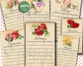 SALE Printable Images MONTHS JOURNALING TAgS  Collage Digital Images  -printable download file- Journaling Tags -Printable tags -Notes