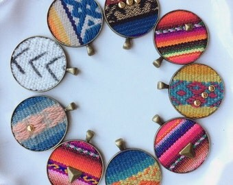 INKA BOHEMIAN necklace upcycled handwoven peruvian inca textile pattern