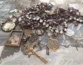 RESERVED for Sweet Jeannine...Layaway...I Can See Clearly Now Amethyst Fluorite Antique Rosary Necklace