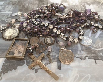 I Can See Clearly Now Amethyst Fluorite Antique Rosary Necklace