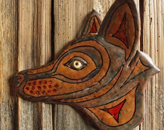 Gray Wolf Spirit - copper metal wild dog lupine wall art - Pacific Northwest Coast Indian inspired - with verdigris blue-green patina - OOAK