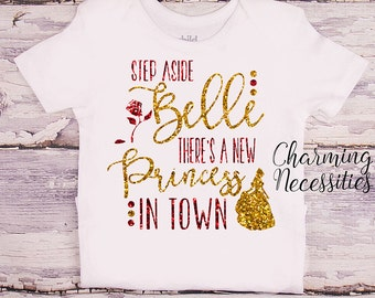 Princess Belle Glitter Shirt, Baby Toddler Girl Clothes, Coming Home, Baby Shower Gift, Beauty and the Beast Inspired, Charming Necessities