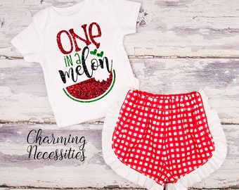 NEW Baby Girl Summer Watermelon Outfit, Onesie, Toddler Set, Glitter Top Shorts, Patriotic Red Gingham One in a Melon Charming Necessities