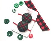 Christmas Plaid Button Hair Ties, Ponytail, Children's Hair Accessory, Plaid, Green and Red, Child Pontail Holder
