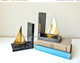 Sale Marble and Brass Sailboat Bookends