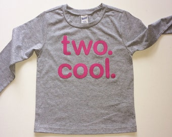 """TWO. COOL. LONG Sleeve, Grey or Black, Many Letter Colors, Toddler Baby Boy, Girl, """"two cool"""" 2 year old Birthday shirt - Etsy kid's fashion"""