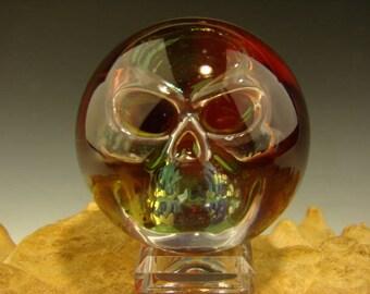 Glass Art Phantom Skull Marble Lampwork Freaky Orb Sphere VGW (Ready to Ship)