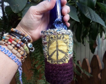 Hippie Gift, Hippie Festival, Peace Sign, Beer cozy, beer cooler, hippie crochet, beer gift, beer accessory, can cooler, bottle cooler, D12