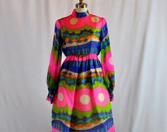 Vintage 1960s Dress | 60s Mod Chiffon Cocktail Dress | Mollie Parnis