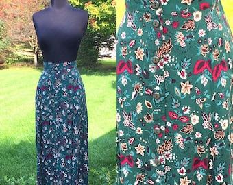 Vintage 70s Bohemian Czeh Nature Skirt | Medium Large