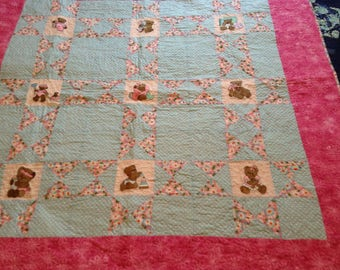 Baby girl quilt with machine embroidered teddy bears, baby girl quilt, nursery decor, modern baby quilt, baby blanket, Snuggle blanket