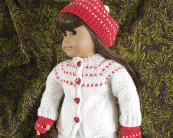 Doll Sweater Hat and Gloves 18 Inch Doll Sweater White and Red Doll Sweater AG Doll Knit Sweater American Girl Doll Sweater Hat and Gloves
