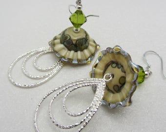 Lampwork Sea Ruffle Earrings Shades of Cream Blues and Greens Earth Tones Glass Bead Earrings Dangle Drop Earrings SRAJD Mothers Day Gift